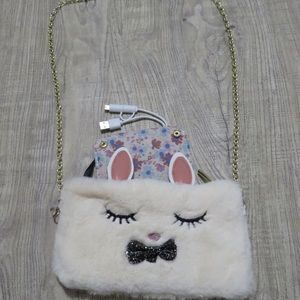 Faux fur bunny crossbody wallet and charger